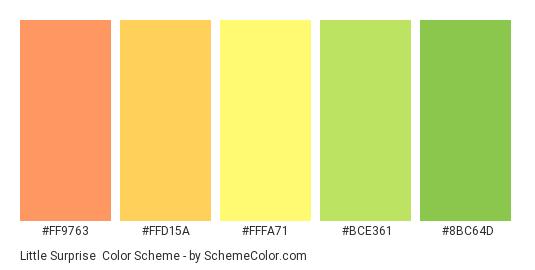 Little Surprise - Color scheme palette thumbnail - #FF9763 #FFD15A #FFFA71 #BCE361 #8BC64D