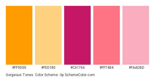 Gorgeous Tones - Color scheme palette thumbnail - #FF9D00 #FED180 #C61766 #FF7484 #FAADBD
