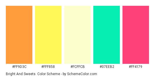 Bright and Sweets - Color scheme palette thumbnail - #FF9D3C #FFF858 #FCFFCB #07EEB2 #FF4179
