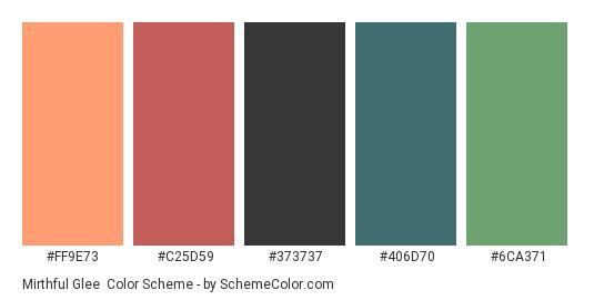 Mirthful Glee - Color scheme palette thumbnail - #FF9E73 #C25D59 #373737 #406D70 #6CA371