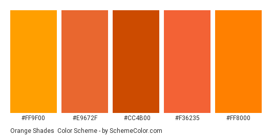 Orange Shades - Color scheme palette thumbnail - #FF9F00 #E9672F #CC4B00 #F36235 #FF8000