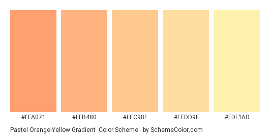 Pastel Orange-Yellow Gradient - Color scheme palette thumbnail - #FFA071 #FFB480 #FEC98F #FEDD9E #FDF1AD