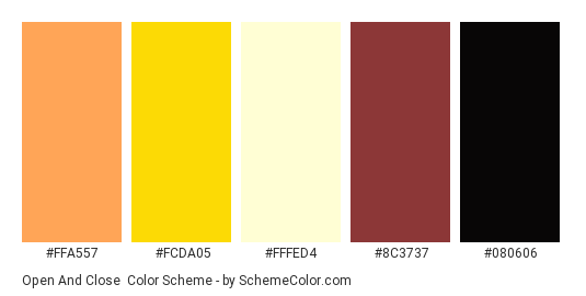 Open and Close - Color scheme palette thumbnail - #FFA557 #FCDA05 #FFFED4 #8C3737 #080606