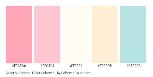 Quiet Valentine - Color scheme palette thumbnail - #FFA5B6 #FFC5D1 #FFFBF0 #FEEED5 #B5E3E3