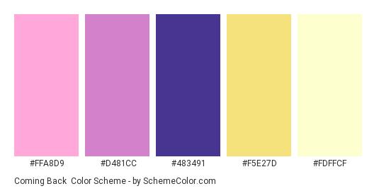 Coming Back - Color scheme palette thumbnail - #FFA8D9 #D481CC #483491 #F5E27D #FDFFCF