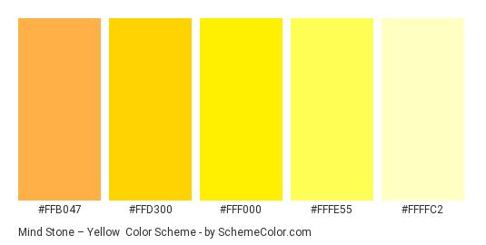 Mind Stone – Yellow - Color scheme palette thumbnail - #FFB047 #FFD300 #FFF000 #FFFE55 #FFFFC2