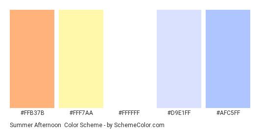 Summer Afternoon - Color scheme palette thumbnail - #FFB37B #FFF7AA #FFFFFF #D9E1FF #AFC5FF