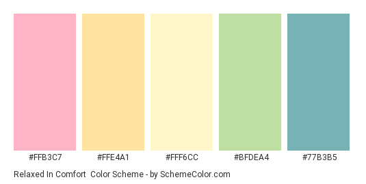 Relaxed in Comfort - Color scheme palette thumbnail - #FFB3C7 #FFE4A1 #FFF6CC #BFDEA4 #77B3B5