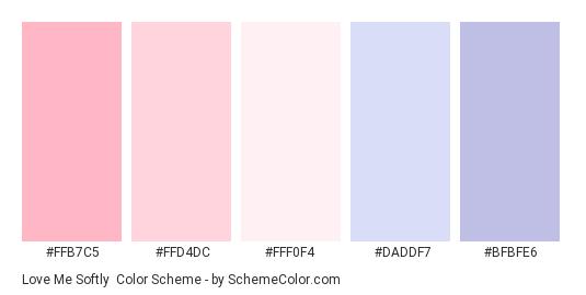 Love Me Softly - Color scheme palette thumbnail - #FFB7C5 #FFD4DC #FFF0F4 #DADDF7 #BFBFE6
