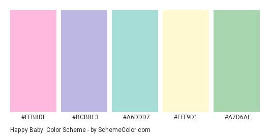 Happy Baby - Color scheme palette thumbnail - #FFB8DE #BCB8E3 #A6DDD7 #FFF9D1 #A7D6AF