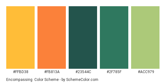 Encompassing - Color scheme palette thumbnail - #FFBD38 #FB813A #23544C #2F785F #ACC979