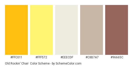 Old Rockin' Chair - Color scheme palette thumbnail - #FFC011 #FFF572 #EEECDF #C8B7A7 #96665C