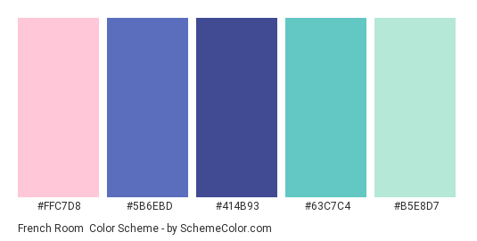 French Room - Color scheme palette thumbnail - #FFC7D8 #5B6EBD #414B93 #63C7C4 #B5E8D7