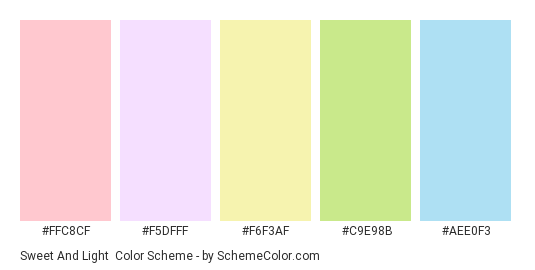 Sweet and Light - Color scheme palette thumbnail - #FFC8CF #F5DFFF #F6F3AF #C9E98B #AEE0F3