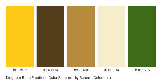 Kingdom Rush Frontiers - Color scheme palette thumbnail - #FFC917 #543D1A #B88A3B #F6EECA #3D6B16