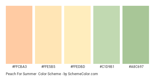Peach for Summer - Color scheme palette thumbnail - #FFCBA3 #FFE5B5 #FFEDBD #C1D9B1 #A8C697