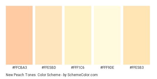 New Peach Tones - Color scheme palette thumbnail - #FFCBA3 #FFE5BD #FFF1C6 #FFF9DE #FFE5B3