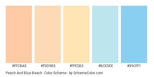 Peach and Blue Beach - Color scheme palette thumbnail - #FFCBA5 #FDD9B5 #FFE5B3 #BCE5EE #89CFF1
