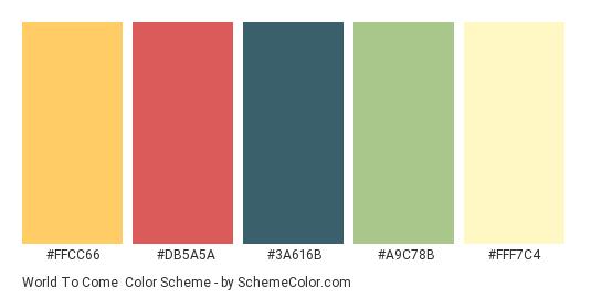 World to Come - Color scheme palette thumbnail - #FFCC66 #DB5A5A #3A616B #A9C78B #FFF7C4