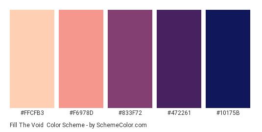 Fill the Void - Color scheme palette thumbnail - #FFCFB3 #F6978D #833F72 #472261 #10175b