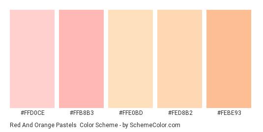 Red and Orange Pastels - Color scheme palette thumbnail - #FFD0CE #FFB8B3 #FFE0BD #FED8B2 #FEBE93
