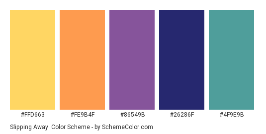 Slipping Away - Color scheme palette thumbnail - #FFD663 #FE9B4F #86549B #26286f #4f9e9b