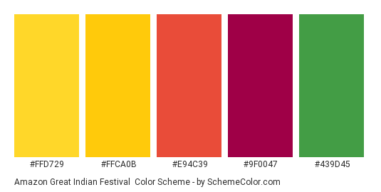 Amazon Great Indian Festival - Color scheme palette thumbnail - #FFD729 #FFCA0B #E94C39 #9F0047 #439D45