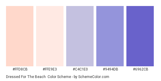 Dressed for the Beach - Color scheme palette thumbnail - #FFD8CB #FFE9E3 #C4C1E0 #9494db #6962CB