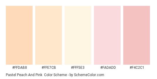 Pastel Peach and Pink - Color scheme palette thumbnail - #FFDAB8 #FFE7CB #FFF5E3 #FADADD #F4C2C1