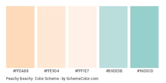 Peachy Beachy - Color scheme palette thumbnail - #FFDAB8 #FFE9D4 #FFF1E7 #B9DEDB #96D0CD