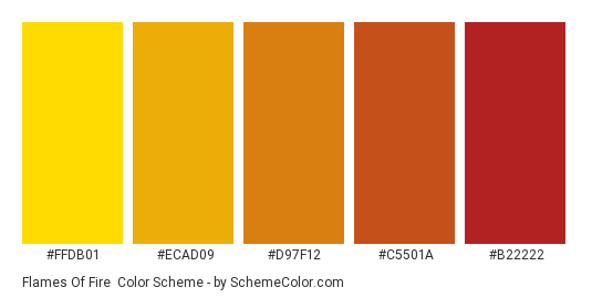 Flames of Fire - Color scheme palette thumbnail - #FFDB01 #ECAD09 #D97F12 #C5501A #B22222