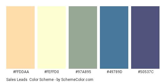Sales Leads - Color scheme palette thumbnail - #FFDDAA #FEFFD0 #97A895 #49789D #50537C