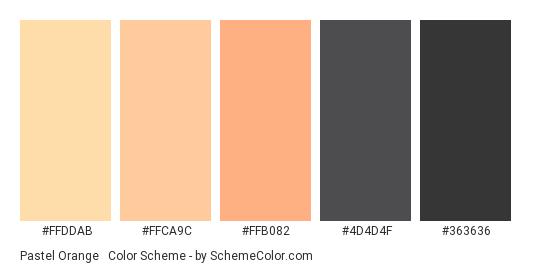 Pastel Orange & Black - Color scheme palette thumbnail - #FFDDAB #FFCA9C #FFB082 #4D4D4F #363636