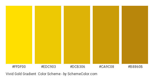 Vivid Gold Gradient - Color scheme palette thumbnail - #FFDF00 #EDC903 #DCB306 #CA9C08 #B8860B