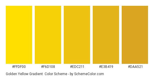 Golden Yellow Gradient - Color scheme palette thumbnail - #FFDF00 #F6D108 #EDC211 #E3B419 #DAA521