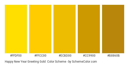 Happy New Year Greeting Gold - Color scheme palette thumbnail - #FFDF00 #FFCC00 #ECBD00 #CC9900 #B8860B
