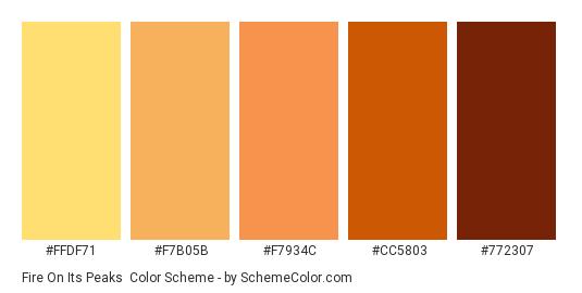 Fire on its Peaks - Color scheme palette thumbnail - #FFDF71 #f7b05b #f7934c #cc5803 #772307