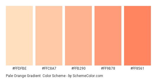 Pale Orange Gradient - Color scheme palette thumbnail - #FFDFBE #FFC8A7 #FFB290 #FF9B78 #FF8561