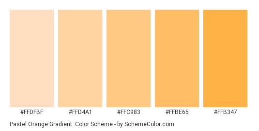 Pastel Orange Gradient - Color scheme palette thumbnail - #FFDFBF #FFD4A1 #FFC983 #FFBE65 #FFB347
