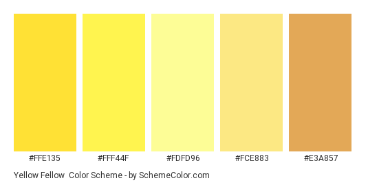 Yellow Fellow - Color scheme palette thumbnail - #FFE135 #FFF44F #FDFD96 #FCE883 #E3A857