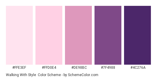 Walking With Style - Color scheme palette thumbnail - #FFE3EF #FFD0E4 #DE98BC #7F4988 #4C276A
