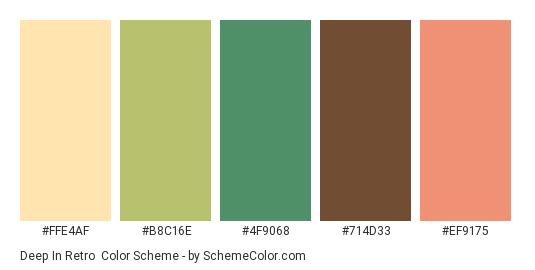 Deep in Retro - Color scheme palette thumbnail - #FFE4AF #B8C16E #4F9068 #714D33 #EF9175