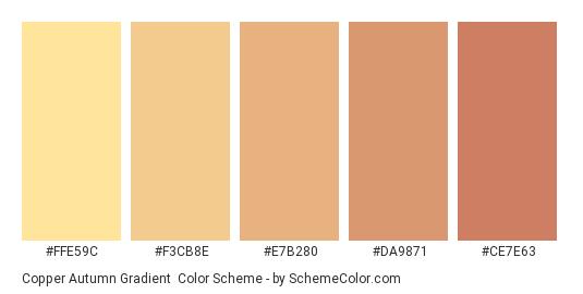 Copper Autumn Gradient - Color scheme palette thumbnail - #FFE59C #F3CB8E #E7B280 #DA9871 #CE7E63