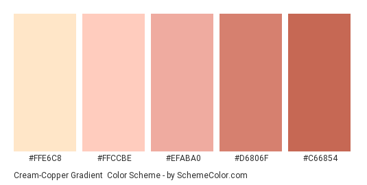 Cream-Copper Gradient - Color scheme palette thumbnail - #FFE6C8 #FFCCBE #EFABA0 #D6806F #C66854