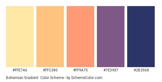 Bohemian Gradient - Color scheme palette thumbnail - #FFE7A6 #FFC380 #FF9A75 #7E5987 #2b3568