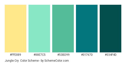 Jungle Cry - Color scheme palette thumbnail - #FFE889 #88E7C5 #53BD99 #01767D #034F4D