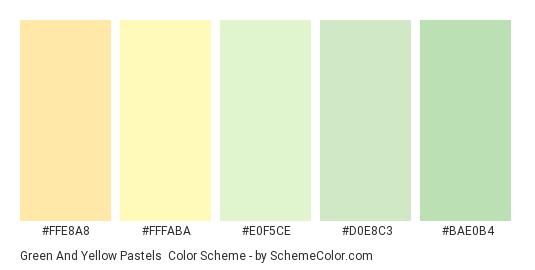Green and Yellow Pastels - Color scheme palette thumbnail - #FFE8A8 #FFFABA #E0F5CE #D0E8C3 #BAE0B4
