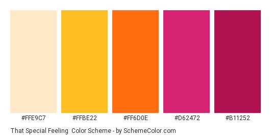 That Special Feeling - Color scheme palette thumbnail - #FFE9C7 #FFBE22 #FF6D0E #D62472 #B11252