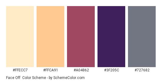 Face Off - Color scheme palette thumbnail - #FFECC7 #FFCA91 #A04862 #3F205C #727682