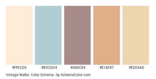 Vintage Walks - Color scheme palette thumbnail - #FFECD6 #B0CDD4 #A88C89 #E1AF87 #EDD6AD